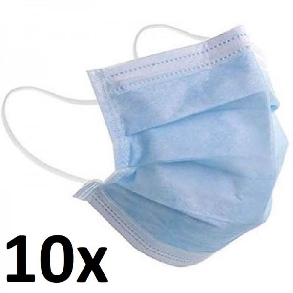 10 Stk Gesichtsmaske Atemschutz 3 Lagig mit Schlaufe Mundschutz Schutzmaske