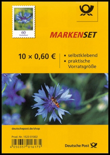 Markenset 10x0,6€ Blumen: Kornblume, Selbstklebend