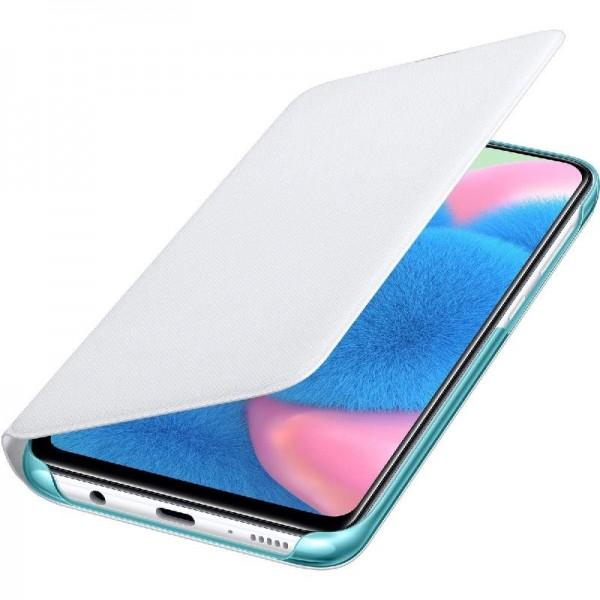Original Samsung Wallet Cover EF-WA307 für Galaxy A30s, Weiß
