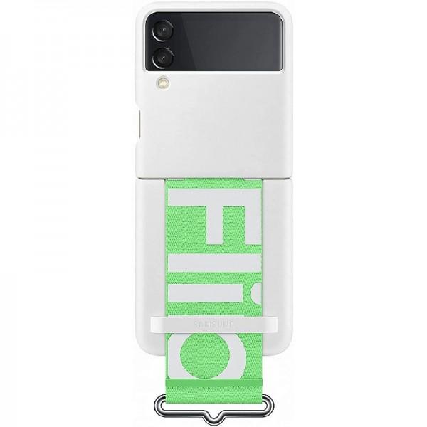 Original Samsung Silicone Cover with Strap für Galaxy Z Flip3, Weiß