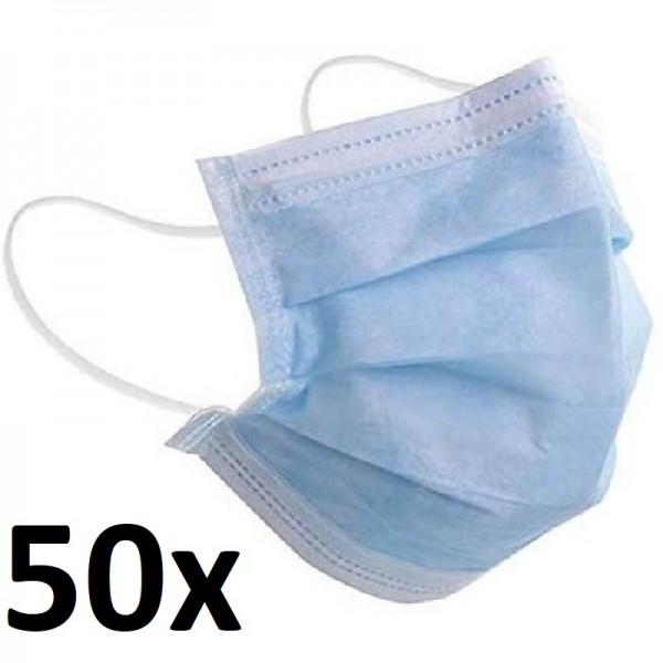 50 Stk Mundschutz Schutzmaske Gesichtsmaske Atemschutz 3 Lagig mit Schlaufe