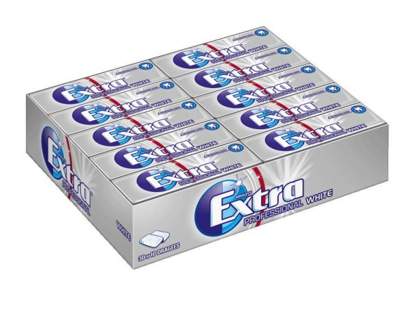 Extra Kaugummi,Professional White, Zuckerfrei, 30 Packungen, 30x10 Dragees
