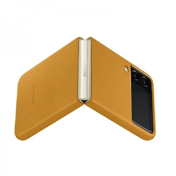 Original Samsung Leather Cover EF-VF711 für das Galaxy Z Flip3 5G, Braun
