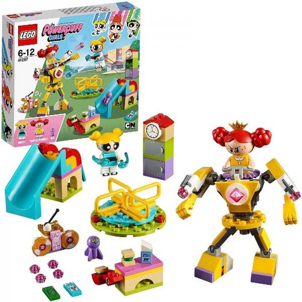 LEGO 41287 Powerpuff Girls Playground Showdown Bubbles, Princess Morbucks Minifiguren und Mech Suit