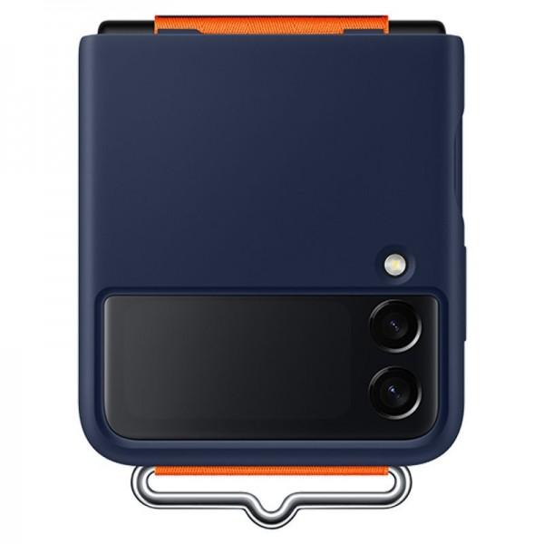 Original Samsung Silicone Cover with Strap für Galaxy Z Flip3, Navy