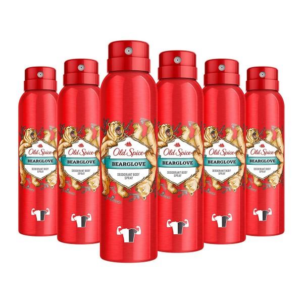 Old Spice Bearglove Deodorant Bodyspray, für Männer, 6er Pack (6 x 150 ml)