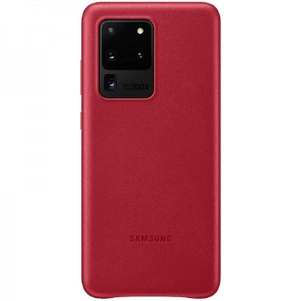 Original Samsung Leather Cover für Galaxy S20 Ultra Handy-Hülle echtes Leder Rot