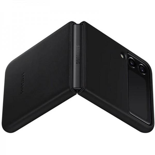 Original Samsung Leather Cover EF-VF711 für das Galaxy Z Flip3 5G, Schwarz