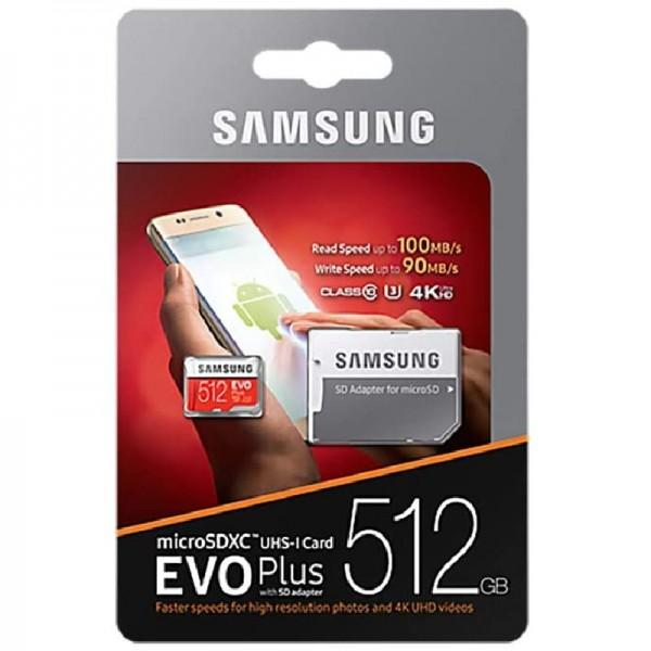 Samsung MB-MC512GA/EU EVO Plus 512 GB microSDXC UHS-I U3 + SD-Adapter Rot/Weiß